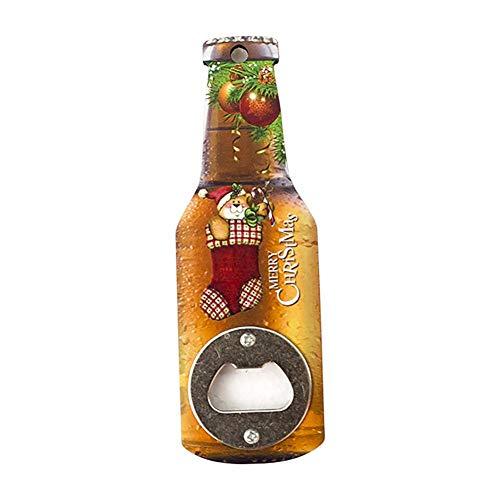 Haodou Apribottiglie per Bicchiere di Vino Cavatappi in Stile Natalizio con Motivo di Babbo Natale Pupazzo di Neve Orso con Bottiglie di Birra Bevande