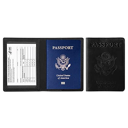 Ciana PU Leather Passport and Vaccine Card Holder Passport Holder With Vaccine Card (Black)