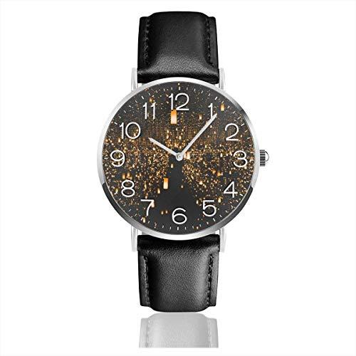 Herren lässig Schwarze Lederarmbanduhren Mode Armbanduhren, Light Sky Laternen