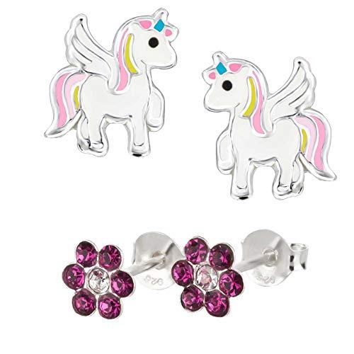 Five-D, 2 paia di orecchini per bambini, a forma di unicorno e fiore, in argento 925 e cristalli, con cofanetto e Argento, colore: Cristalli colorati., cod. set363-V