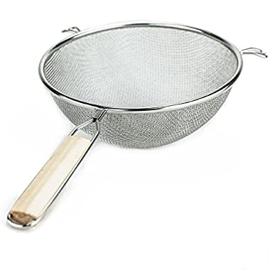 Huji Stainless Steel Fine 8  Double Mesh Strainer Colander Sieve Sifter with Wooden Handle for Kitchen Food Rice Pasta (1, 8 )