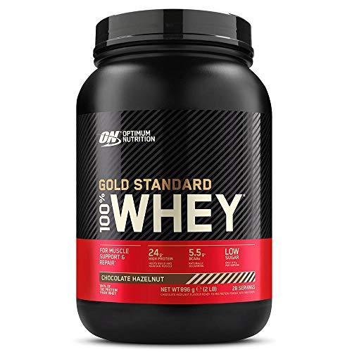 Optimum Nutrition Gold Standard 100% Whey Proteína en Polvo, Glutamina y Aminoácidos Naturales, BCAA, Chocolate y Avellana, 28 Porciones, 900g, Embalaje Puede Variar