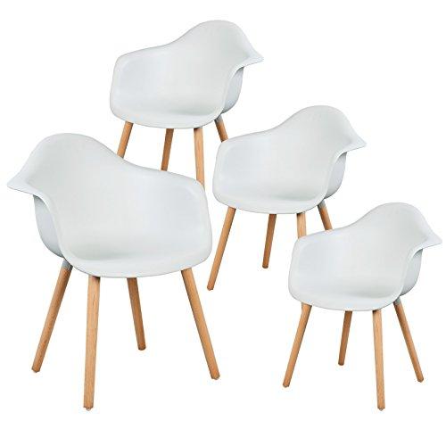 eSituro SDC0014-4 4 x Esszimmerstühle Küchenstuhl 4er Set Wohnzimmerstuhl, aus Kunststoff und Holz, mit Rückenlehne und Armlehne, Weiss