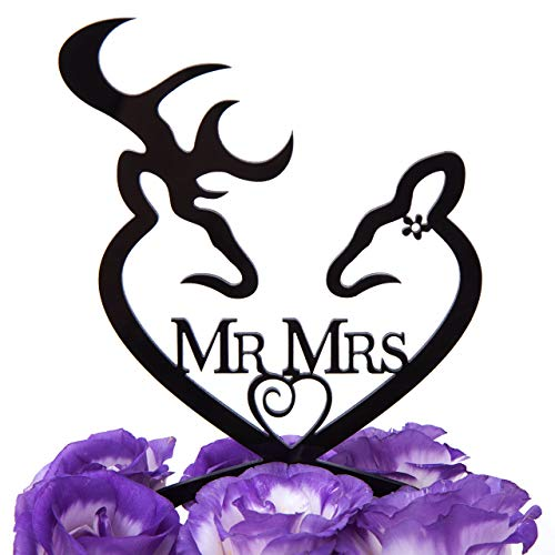LOVENJOY with Gift Box Deer Mr and Mrs Monogram Wedding Engagement Cake Decoration Topper Black (4.3-inch) (Updated Version)