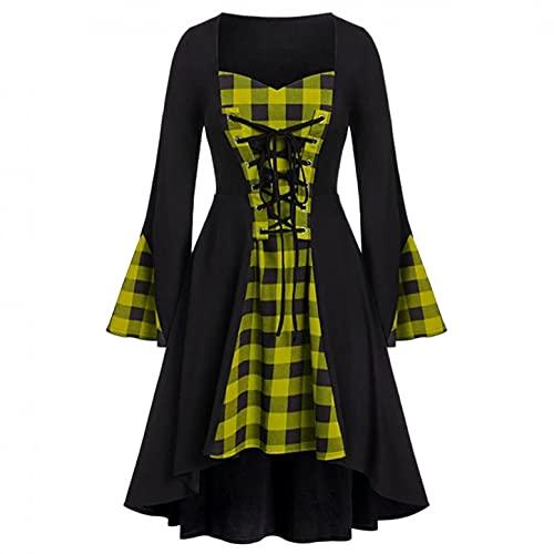 Mymyguoe Robe de princesse des années 80 - Style médiéval - Élégante robe de soirée vintage - Pour costume d'Halloween., jaune, S