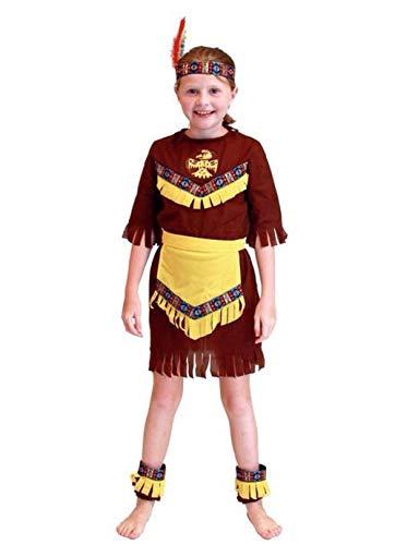 Maat l - 7/8 jaar - kostuum - vermomming - carnaval - halloween - indiaas - indiaan - etnisch - bruine kleur - meisje