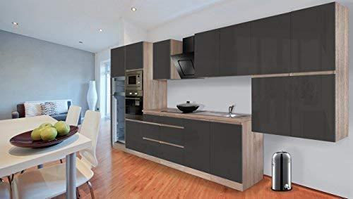 respekta Premium bezuchwytowy aneks kuchenny kuchnia 435 cm dąb cięty surowy imitacja szary wysoki połysk wraz z cichym domykaniem / lodówką 144 cm i płytą grzewczą z ceramiki szklanej