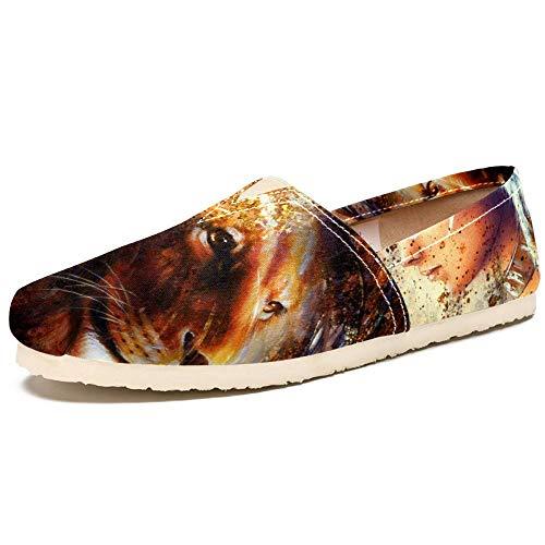 TIZORAX Slip on Loafer Schuhe für Frauen, Feder-Kopfschmuck, indische Frauen mit Löwe, bequem, lässig, Canvas, flach, Bootsschuh, Größe 36, Mehrfarbig - mehrfarbig - Größe: 39 EU