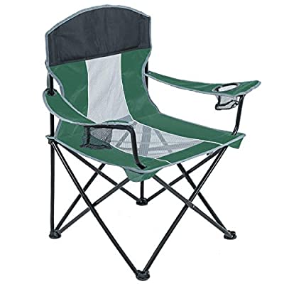 Outdoor Camping Chair for Heavy People Folding Lawn Chair Mesh Back Quad Arm Chair with Cup Holder for Camp Beach 400lb Green