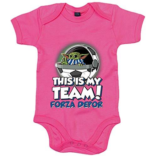 Body bebé parodia baby Yoda mi equipo de fútbol Forza Depor - Rosa, 6-12 meses