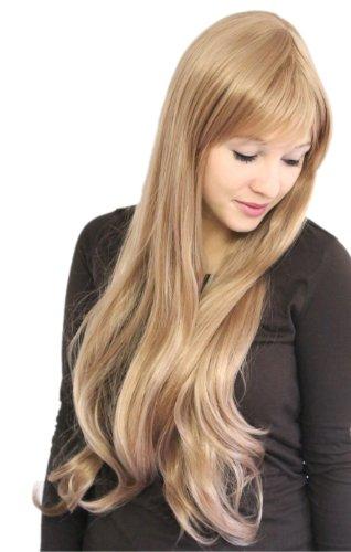 Prettyland Perruque très longue 80cm Ondule Blonde Beige Lisse Effet Naturel Frange Droite Feminin Wig C280