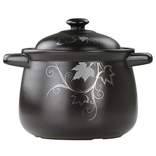 Knoijijuo Pot Soupe Casserole marmite en céramique santé en Pierre de Couleur café Pot Pan Ragoût de Poulet,Noir,7.0L