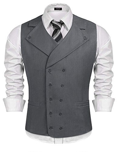 Coofandy Men Suit Vest Solid Double Breasted Slim Fit Business Dress Waistcoat, Gray, Large