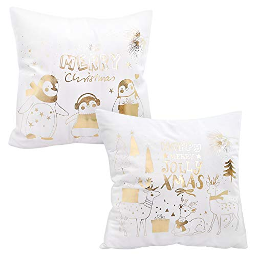 Fyy Christmas Throw Pillow Cushion Covers (2 Pack), Christmas Series Modern Sofa Decorative Throw Pillowcase Cushion Cover for Couch Bed Sofa Car 18x18 Inch White-002