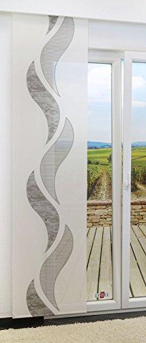 LYSEL Schiebegardine Wave transparent mit Motiv in den Maßen 245 cm x 60 cm grau/blassbraun