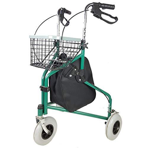 Mobiclinic, Modell Caleta, Rollator, Gehwagen mit 3 Rädern, Faltbare Gehhilfe, Verstellbar, Korb, Tragetasche, Grün