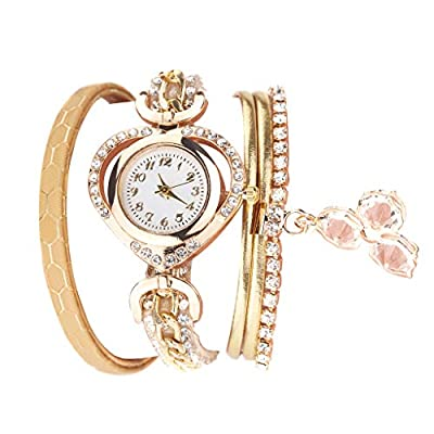 COOKI Women Watches Analog Quartz Vintage Shining Love Crystal Bracelet Dial Wristwatch Business Watches Gift for Women