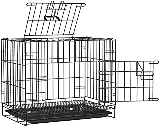 Dog Trust Double Door Folding Metal cage with Removable Tray and paw Protector for Dogs,Cats and Rabbits 36 Inch Sky Black
