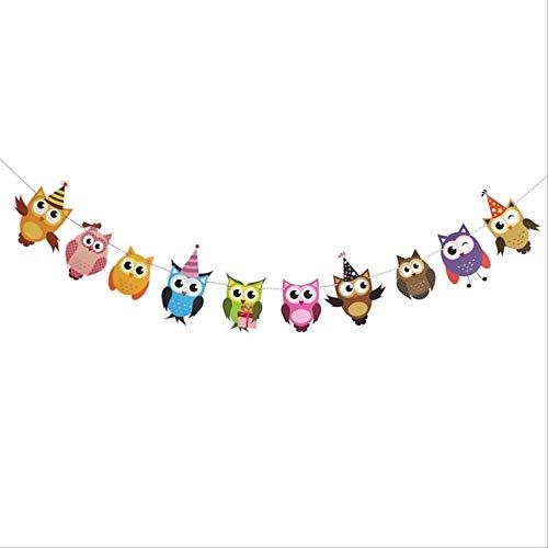 PXNH Cute Eule Papier Banner Cartoon Tier Baby Dusche Wimpel Girlande Girlande Für Kindergeburtstag Dekorationen 2 mt Deep Sapphire