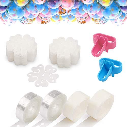 DIY Balloon Arch Kit, 2 Rollen 16,4 Ft Klebeband Streifen, 2 Bindewerkzeug, 200 Dot Glue Point Aufkleber, 30 Blume Clip, Ballon Dekoration Kit für Party Hochzeit Geburtstag Weihnachten Jubiläum