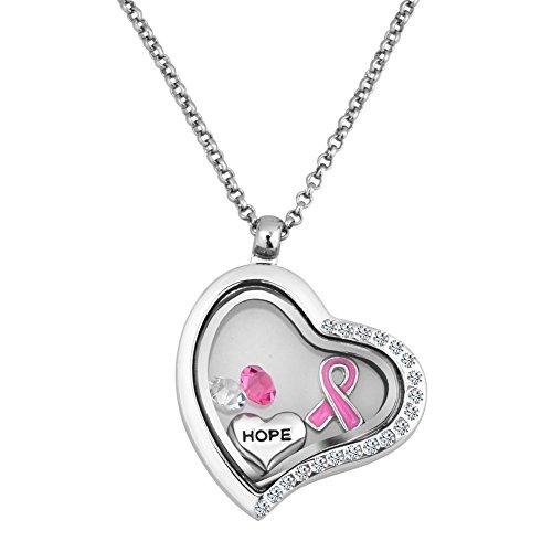 De cáncer de mama lazo rosa Hope Living medallón con forma de corazón collar con colgante en forma lámpara de techo con cristales colgantes flotante 45,72 cm caja de regalo cadena