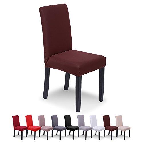 SaintderG® Fundas para sillas Pack de 4 Fundas sillas Comedor, Lavable Extraíble Funda, Muy fácil de Limpiar, Duradera Modern Bouquet de la Boda, Hotel, Decor Restaurante (Marrón, Pack de 6)