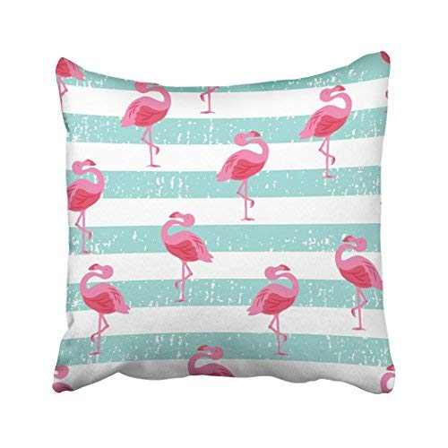 GFGKKGJFD313 Funda de almohada para decoración del hogar, 45,7 x 45,7 cm, diseño de flamenco, color rosa y rosa