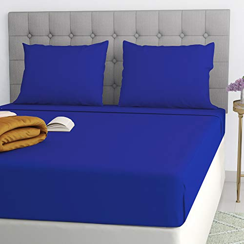 Ghazlan Filo Magico Poly Cotton Extra Deep Box (40cm) 16' Inches Fitted sheet Bed Sheet Royal Blue Single Double 4FT king Super King Sizes (Royal Blue, King)