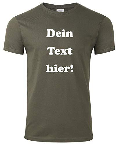 Herren T-Shirt Bedrucken mit dem Amazon Tshirt Designer. T-Shirt selber gestalten. T-Shirt Druck. T-Shirt mit Wunschtext. T Shirts sind Ökotex-100 Zertifiziert. - Oliv XXL