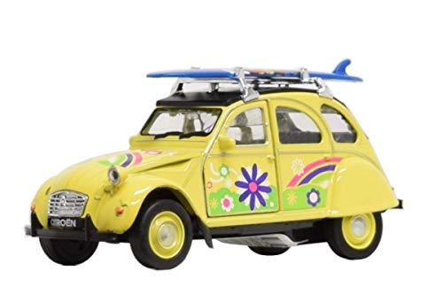 Modellauto Citroen 2CV mit Surfboard (gelb)