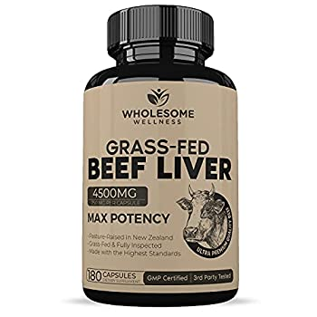 Grass Fed Desiccated Beef Liver Capsules  180 Pills 750mg Each  - Natural Iron Vitamin A B12 for Energy - Humanely Pasture Raised Undefatted in New Zealand Without Hormones or Chemicals