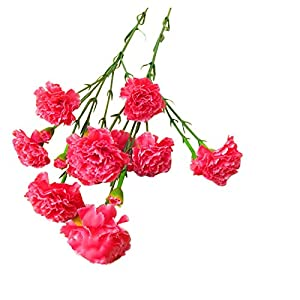 Runxien 6pcs Silk Artificial Carnation Bouquets Vintage Artificial Bouquets Flower,Holding Flowers for Mother's Day, Home Office Wedding Party Decor Table Centerpieces
