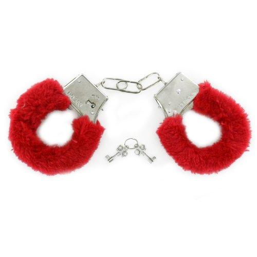 Menottes en fourrure rouge noir adulte Fancy Dress Stag Party Fluffy Love Zizzi en métal
