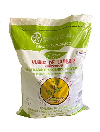 LOMBRICOR Humus de Lombriz Ecológico 3KG (5 L). Abono para todo tipo de plantas y cultivos.