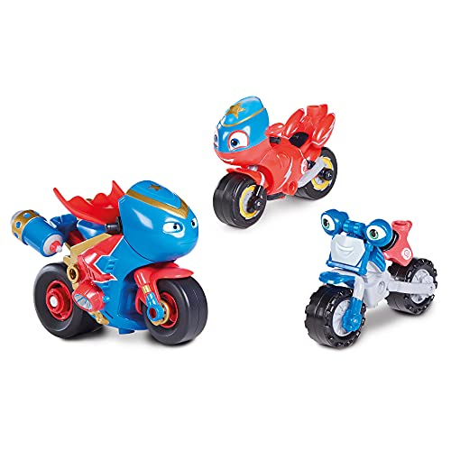 Ricky Zoom T20064 Action Figurenset, Spielset mit Steel Awesome, Spielzeugmotorrad, Ricky und Loop Hoopla, Kinder-Motorradspielzeug für Jungen und Mädchen ab 3 Jahren, Mehrfarbig