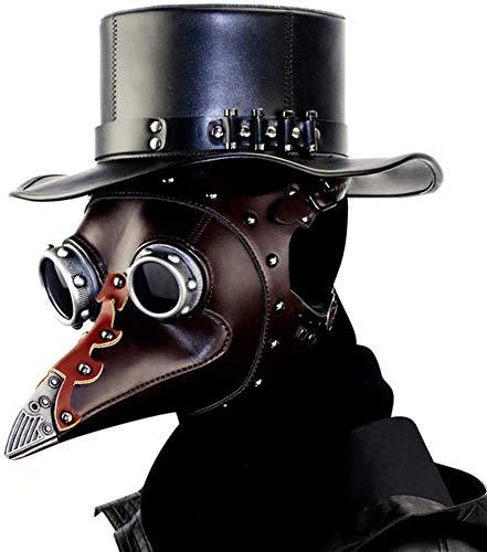 ASEDRF Pest-Doktor-Vogel-Kopfmaske, Mit Langer Nase Gothic Steampunk Leder Maske Cosplay Halloween Weihnachtskostüm Props