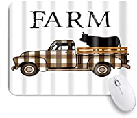 NINEHASA 可愛いマウスパッド 茶色の格子縞のトラックの農場の秋の牛 ノンスリップゴムバッキングコンピューターマウスパッドノートブックマウスマット