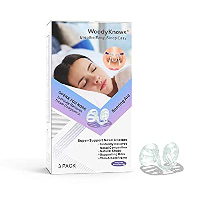 WoodyKnows Anti Snore Nasal Dilators, Super-Support Model, Snoring & Congestion Relief Inner Nose Strips, Mouth Breathing Stopper, Breathe & Sleep Right Aid Devices, Enhanced Expansion
