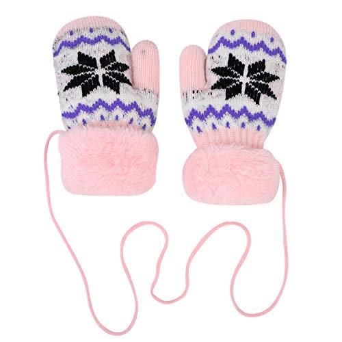 Gebreide handschoenen kleine kinderen warme winterhandschoenen pluche voering winter wanten met hangend touw handwarmer gebreide handschoenen verdikt dikke wanten sneeuwvlok wollen handschoenen roze