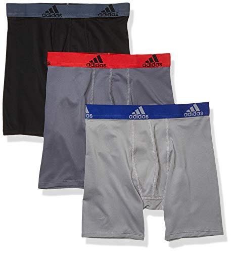 adidas Jungen Sport Performance Climalite Long Boxer Briefs (3-Pack) Unterwäsche, Onix/Scarlet Black/Grey Grey/Collegiate Royal, Small