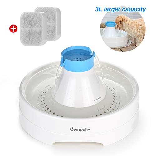 OWNPETS Pet Drinking Fountain,3L or 0.8 Gallon Quiet Automatic Eletrinic Water Fountain for Dog (3L/0.8 Fountain)