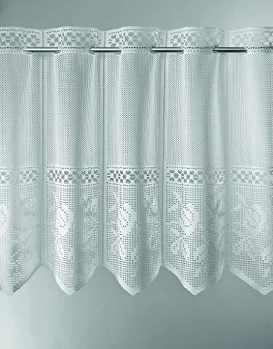 Scheibengardine Jacquard gelocht mit Blumen 90 cm hoch | Breite der Gardine durch gekaufte Menge in 28 cm Schritten wählbar (Anfertigung nach Maß) | weiß | Vorhang Küche Wohnzimmer