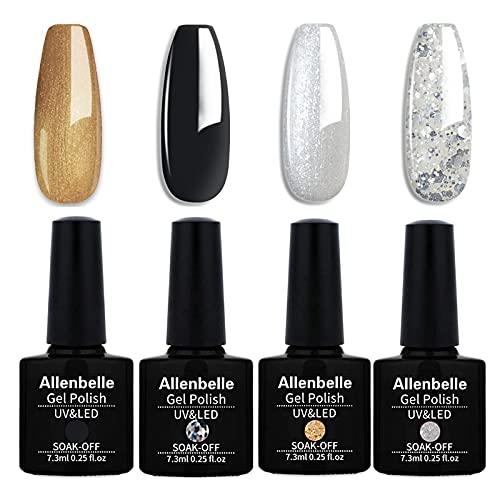 Allenbelle Smalto Semipermante Per Unghie Kit In Gel Uv Led Smalti Semipermanenti Per Unghie Nail Polish UV LED Gel Unghie (017)
