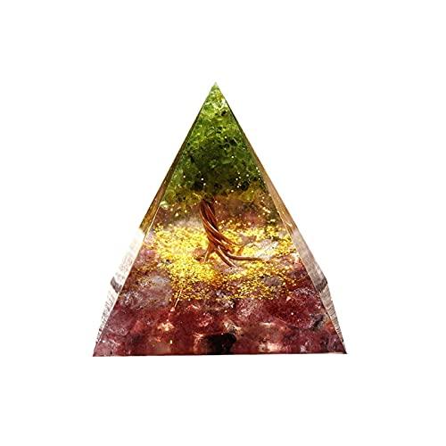 Ailiuqian ライフオルゴンピラミッドペリドットストロベリークォーツオルゴンアキュムレータOrgoniteハンドメイド60mm