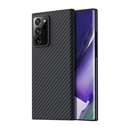 PITAKA - Carcasa magnética para Samsung Galaxy Note 20, ultra minimalista, 100% fibra de aramida, ajuste perfecto, agarre 3D, carga inalámbrica, color negro y gris (sarga)