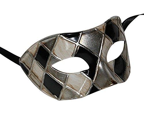 Harlequin Noir et Antique Argent/Or Vénitien Masque de Mascarade Partie des Yeux Masque Carnaval