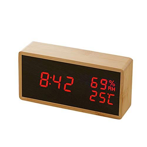 AjAC spiegelwekker, multifunctionele led-grootbeeld-temperatuur-sound besturing desktop-klok met elektronische klokken rood