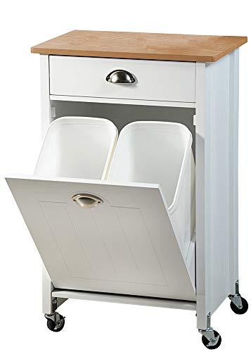 Kesper Küchenwagen mit Trash Trennung System, 50x 37x 79cm, Holz, Weiß