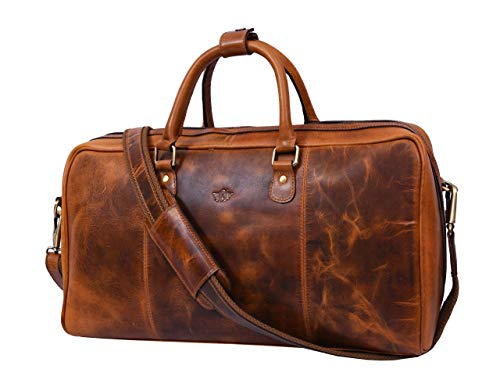 Leather Travel Duffle Bag | Gym Sports Bag Airplane Luggage Carry-On Bag (Caramel)