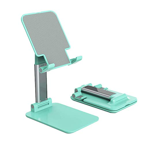 Foldable & Adjustable Tablet Stand, Extendable Compact Desktop Tablet Stand Holder Cradle Dock Compatible with Phones, Ipad Pro 11, Samsung Galaxy Tabs, Kindle, Nintendo Switch,Green